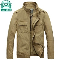 NianJeep 2015 Spring New Design Jacket,Outdoor Brand Men's Sports 100% Outwear,Male Casual Mandarin Collar Jackets,Khaki/Green