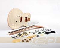 Solid Body DIY Mahogany Electric Guitar Builder Kit with Flamed Maple Veneer