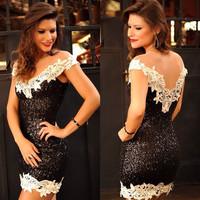 014 Hot sexy slim dress lace yarn one-piece sequined V collar bandage mini bodycon dress frozen dress elsa dress