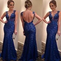 vestidos 2014 women dress the latest blue lace v neck fashion dresses winter dress backless party dress vestido de festa