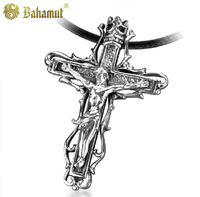 Bahamut 925 silver jewelry  fashion personality Vintage Jesus Crown cross Pendants Men's Necklace Free shipping