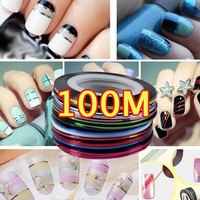 2015 New Color 100M Fashion striping free shipping DIY nail tools Gift nail stickers flower Sexy Tip Decorations beauty Slim