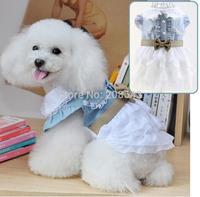 Free Shipping PET DOG APPAREL Clothes Costume Dress DENIM Skirt Pet Wedding Dress XS, S M L XL XXL