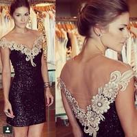 014 Hot sexy slim dress paillette lace yarn one-piece bandage mini bodycon dress frozen dress elsa dress