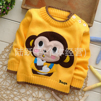 2014 children new winter sweater, cartoon xi monkey private sweater, leisurely fashion color buckle shoulder more sweaters