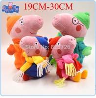4pcs/SET Peppa Pig Family Winter Scarf Daddy Mummy Peppa Pepe pig George Pepa Plush Doll Baby Christmas Gift For Children toys