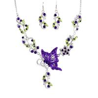 Fashion 2014 necklace set delicate cutout butterfly women's necklace earrings set