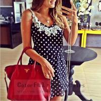 vestidos 2014 hot source of foreign trade of the new blue-and-white lace chiffon strap dress vestido de festa women dress