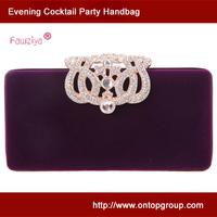 Diamond crown clasp velvet cubic wedding clutch bag