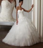 Amazing Sweetheart Bodice Lace Ball Gown Wedding Dresses Bride Ruffles Appliques Vestido de Casamento 2015 W3712