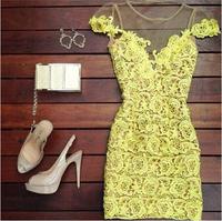 2014-2015 vestidos casual  women dress, cute lace dress vestido de festa Yellow lace mini dress atacado roupas femininas