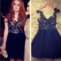 Vestidos de fiesta, 2014 2015 Women fashion black cute lace dress, original dress Crochet Embroidery Elegant Bodycon
