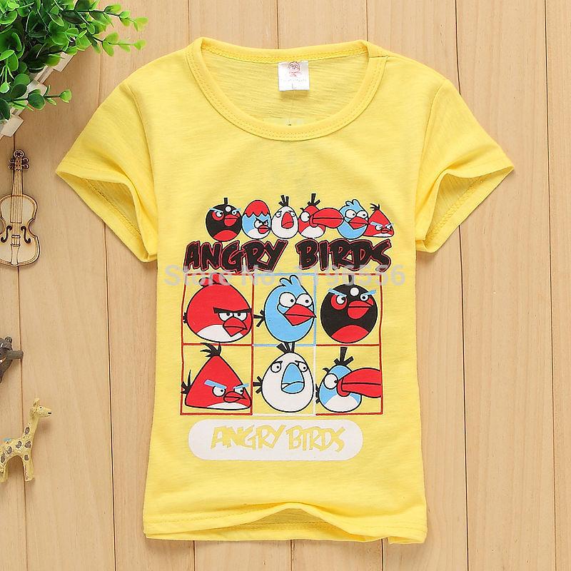 2014 nuovo caldo vendita dei bambini cartone animato preferito 100% cotone uccelli design ragazzo t shirt bambini t shirt
