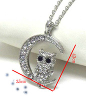 One piece fashion alloy owl shape 43*35mm rhinestone animal pendant necklace xy026-1 free shipping