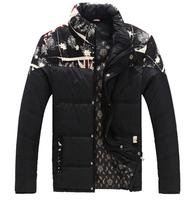 mens jackets parka stand collar patchwork floral prints long sleeve 2014 Winter flag stitching coat men's Jacket men parkas 5xl