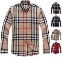 Hot Sale Classic Men Fashion England Designer Long Sleeve Big Plaid Shirts/High Quality Designer Check shirt size M-XXXL