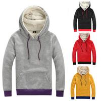 Drop Shipping Man Thick Fleece Hoodies Polyester sherpa Hoody Winter  Men Clothing Sportswear Tracksuits Hoodies Sweatshirt W033