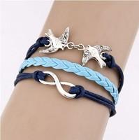Fashion simple double bird cross Infinity bracelet Charm Leather Multilayer Bracelet jewelry for women
