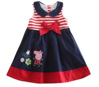 Wholesale 2014 Summer Baby Peppa Pig Girl Dress Girls Princess Dress High Quality Bow Cotton Striped Girl Party Cute DressesTZ43