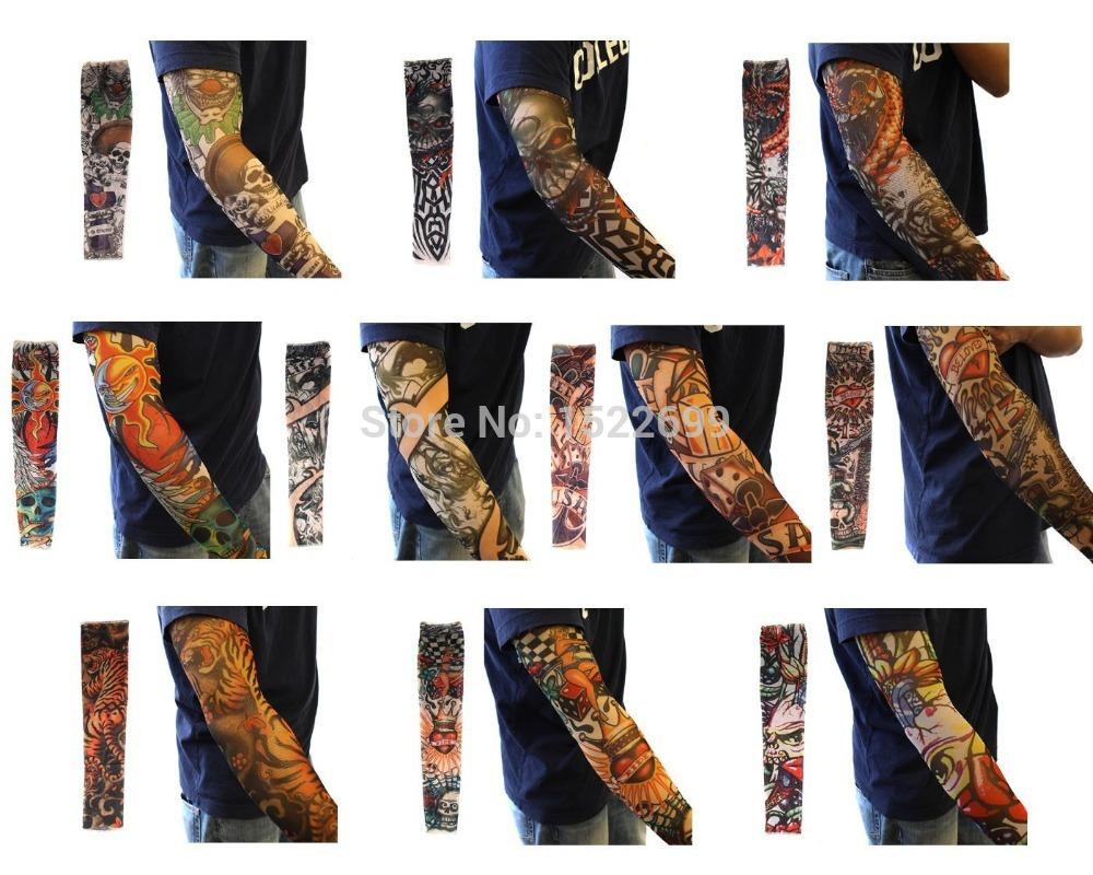 10pc tatuagem temporária falso mangas corpo braço arte meias perna acessórios- projetos tribal, dragão, crânio, e etc.(China (Mainland))