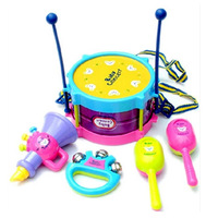 5PCS Multicolor Plastic Educational Toys Drum / Handbell / Trumpet / Sand Hammer /Drum Sticks Musical Playing Type Sets DGWJ5003