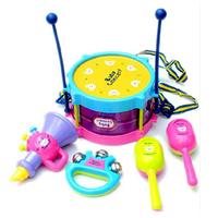 5PCS Multicolor Plastic Educational Toys Drum / Handbell / Trumpet / Sand Hammer /Drum Sticks Musical Playing Type Sets DGWJ5003