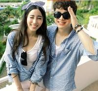 2PCS Couples clothes-European 100% cotton Plaid Men's Blue casual Shirts cozy Spring Plus Size de festa blusa xxl-s  83822806201