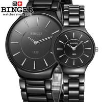 2014 Men Woman Brand Black Ceramic Watch Women Dress Quartz Luxury Watches With Binger LOGO Wristwatches for Couple Lover
