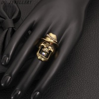 2014 R009-B Fashion Exaggerated Vintage Style with a Skull Head Desigh Gem Rings Charms fashion Jewelry For Men