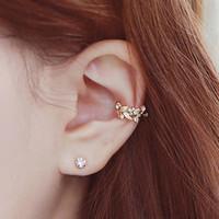 South Korea jewelry leaves wheat Flower Rhinestone non pierced earrings ear clip buckle 2 piece suit