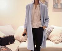 Women winter long wool coat Loose bright jackets