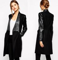 New 2015 Autumn Winter European big brand fashion casual all match patchwork PU medium-long woolen coat for women slim outwear
