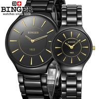 Fashion Clock Binger Brand White Black Wristwatch Ceramic Couple Sport Watch For Men Women Dress Watches Rose Gold