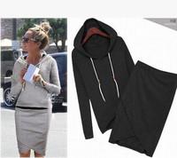 2014 Women Sport Suit Casual Tracksuits 2pcs/set Cotton Hoodies Irregular Skirts Long-sleeve Sweatshirt Female Clothing Sets