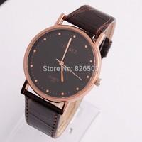 Fashion simple Man Wrist Watch Quartz PU Leather Watchband Waterproof Trendy gift