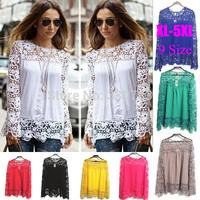 Hot sale women Tropical lace white blouse large size woman shirt summer roupas fashion femininas blusas cheap clothes china 5XL