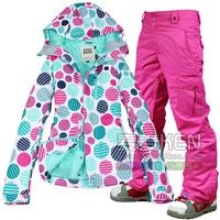 Free Shipping 2014 new hot jackets Gsou snow ski suit women's skiing set monoboard skiing clothing waterproof ski suit set