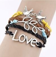Fashion simple love double bird leaf Infinity bracelet Charm Leather Multilayer Vintage Bracelet jewelry for women wholesale