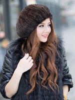 2014 women fashion winter hat elegant berets 100% genuine  mink fur free shipping