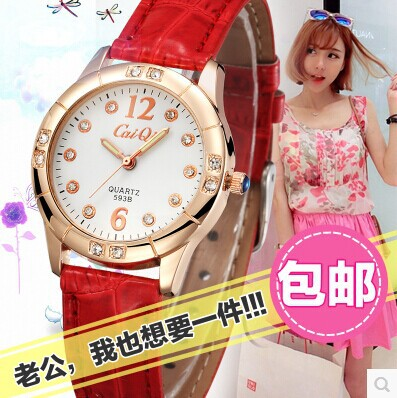 Hot 2014 New Fashion women Casual Student Quartz Leather Band Diamond Round Face Wrist Watch For Women Free Shipping 4 Colors(China (Mainland))