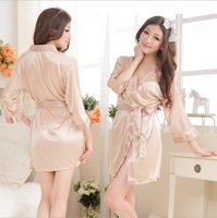 Sexy lingerie Bathrobe New Perspective Silk Robe Women Female Nightgown Dressing Gown vestido pajama femme