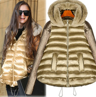 2014 New Winter jacket women Coat with PU leather sleeve rabbit fur Hood A Warm Plus Size Gold Color