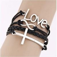 2014 Fashion simple LOVE cross Infinity bracelet Charm Leather Multilayer Vintage Bracelet jewelry for women wholesale