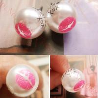 The new Fashion Sweet Cute Lips Pearl  brincos earrings women double pendientes ears boucle doreille
