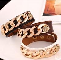 Jewelry Fashion Exaggerate Punk Spike charm bracelet PU Rope Leather bracelet for women 2014