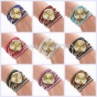 2014 New Fashion Women Leather Watch Hand-woven bracelet Watch Quartz Wristwatch 9 Colors XR727
