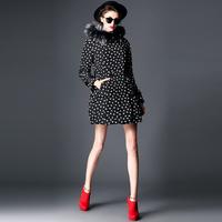 2014 MI111943  fashion fox fur heart print down long outerwear
