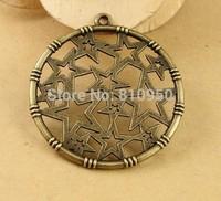 60pcs 32MM Alloy/Metal Antique Bronze  Star Round Pendant DIY Vintage Charms Pendant jewelry accessories