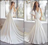 S43 vestido de noiva 2015 New Fashionable casamento Sexy V-Neck Sleeveless Crystal Long Mermaid Satin Wedding Dress Bridal Gown