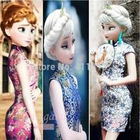 Retail Free shipping Frozen summer traditional cheongsam dress costume